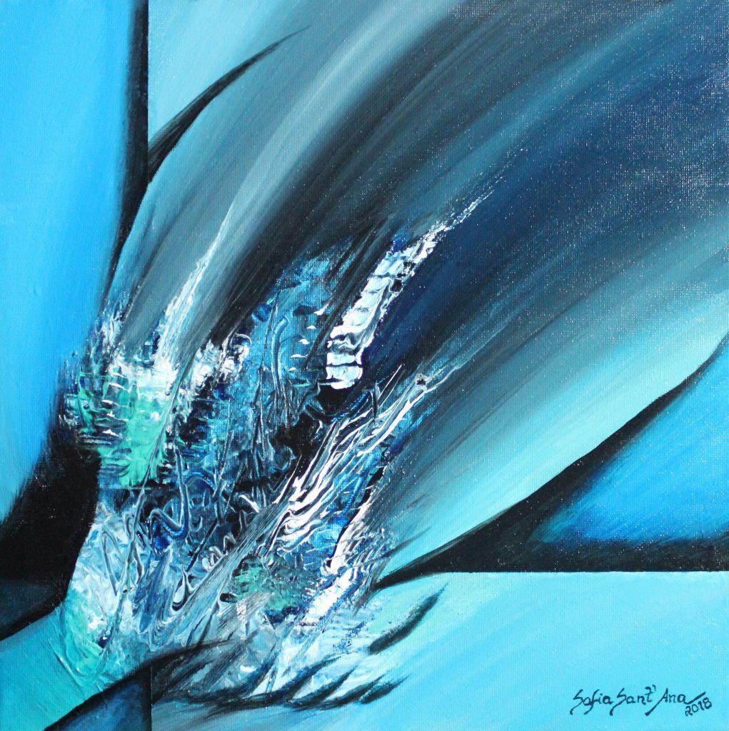 Obra Salto do Golfinho pintada à mão em acrílico sobre tela