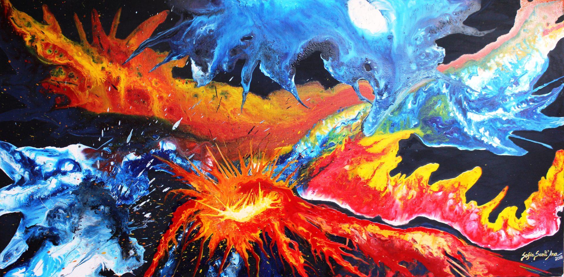 Obra Confronto de titãs pintada à mão em acrílico sobre tela
