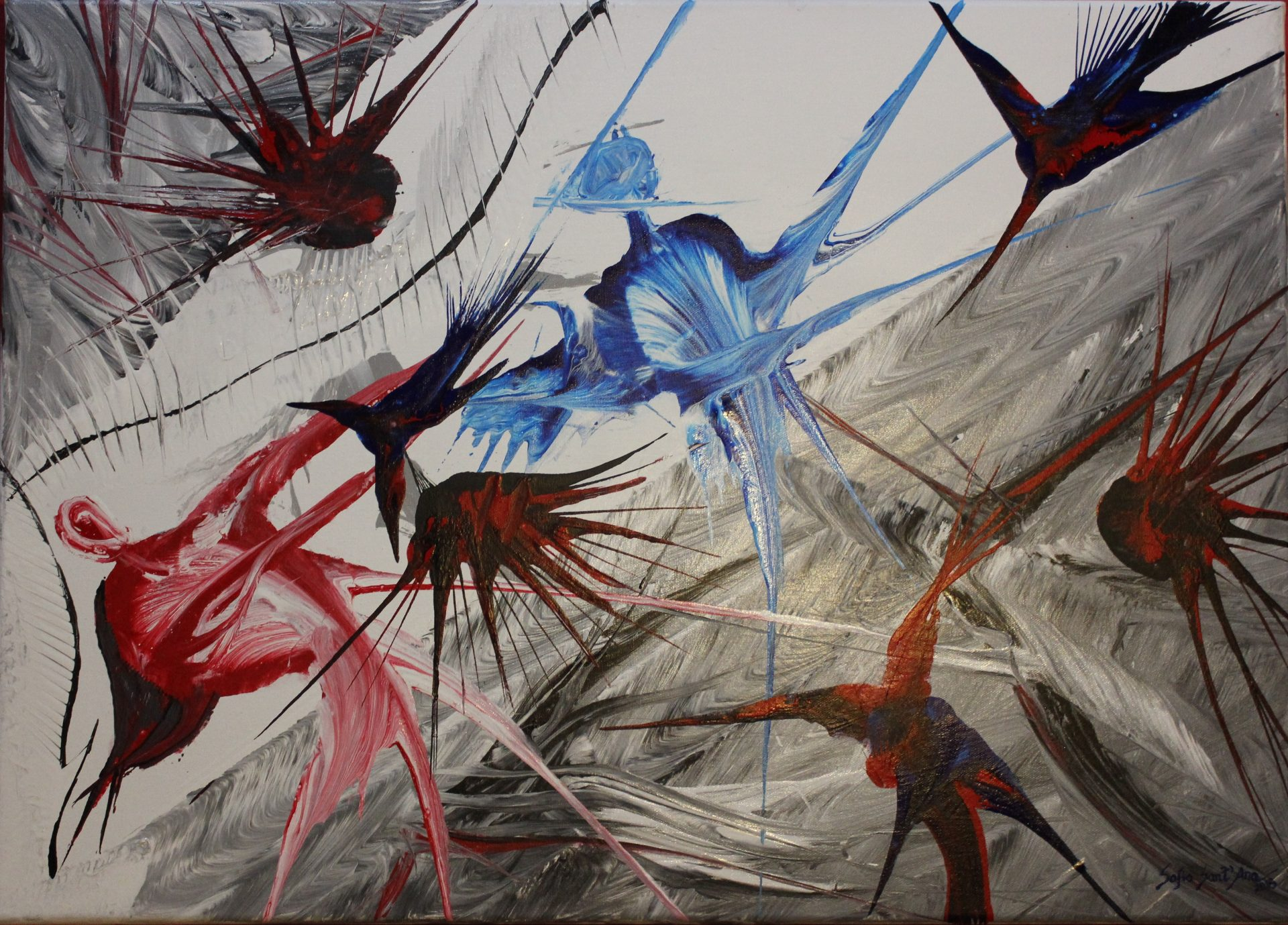 Obra Surgir da Primavera pintada à mão em acrílico sobre tela