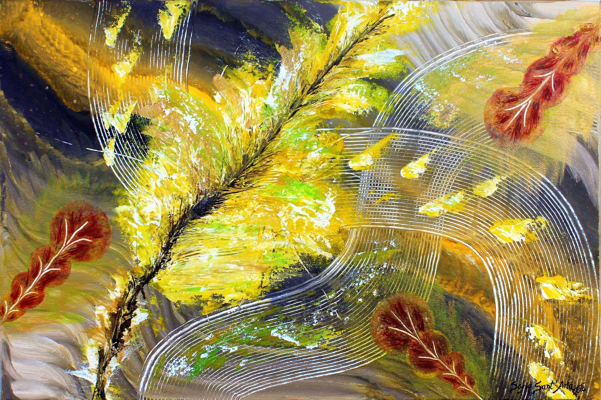 Obra Serenidade de Outono pintada à mão em acrílico sobre tela