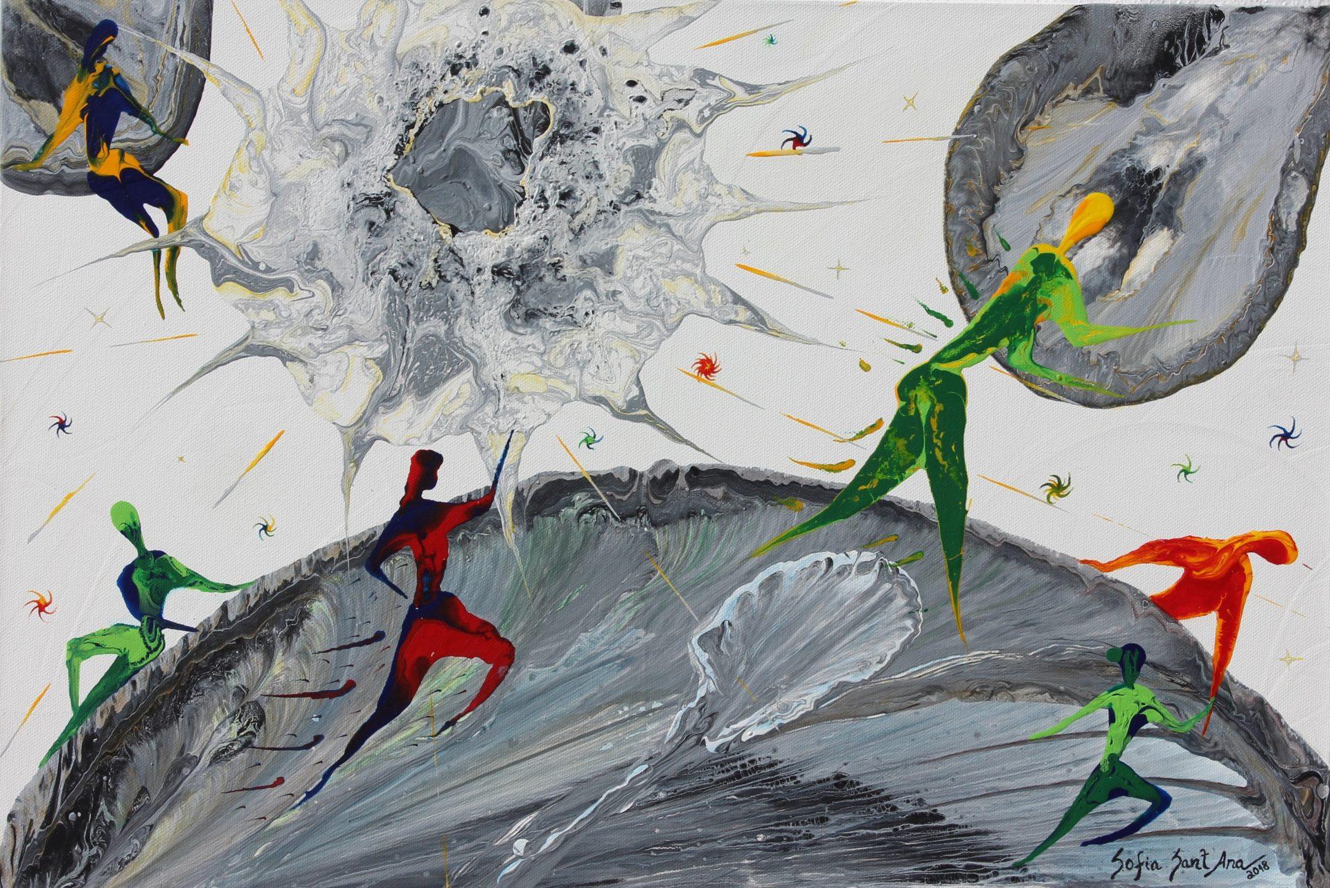 Obra O Nosso Lugar no Mundo pintada à mão em acrílico sobre tela