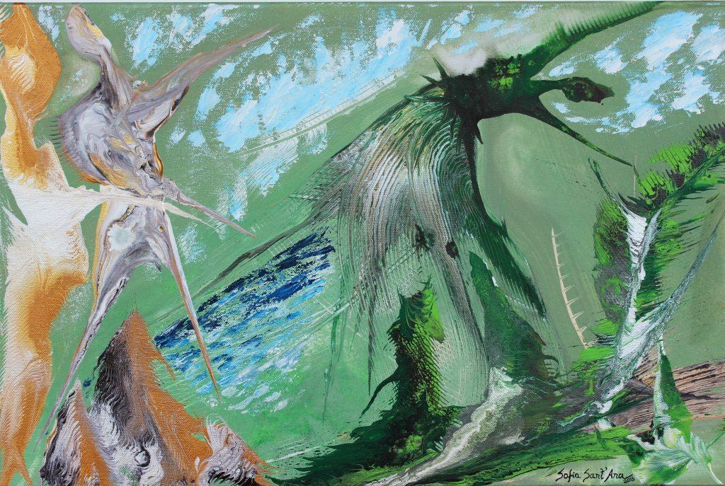 Obra Bailado com a Natureza pintada à mão em acrílico sobre tela