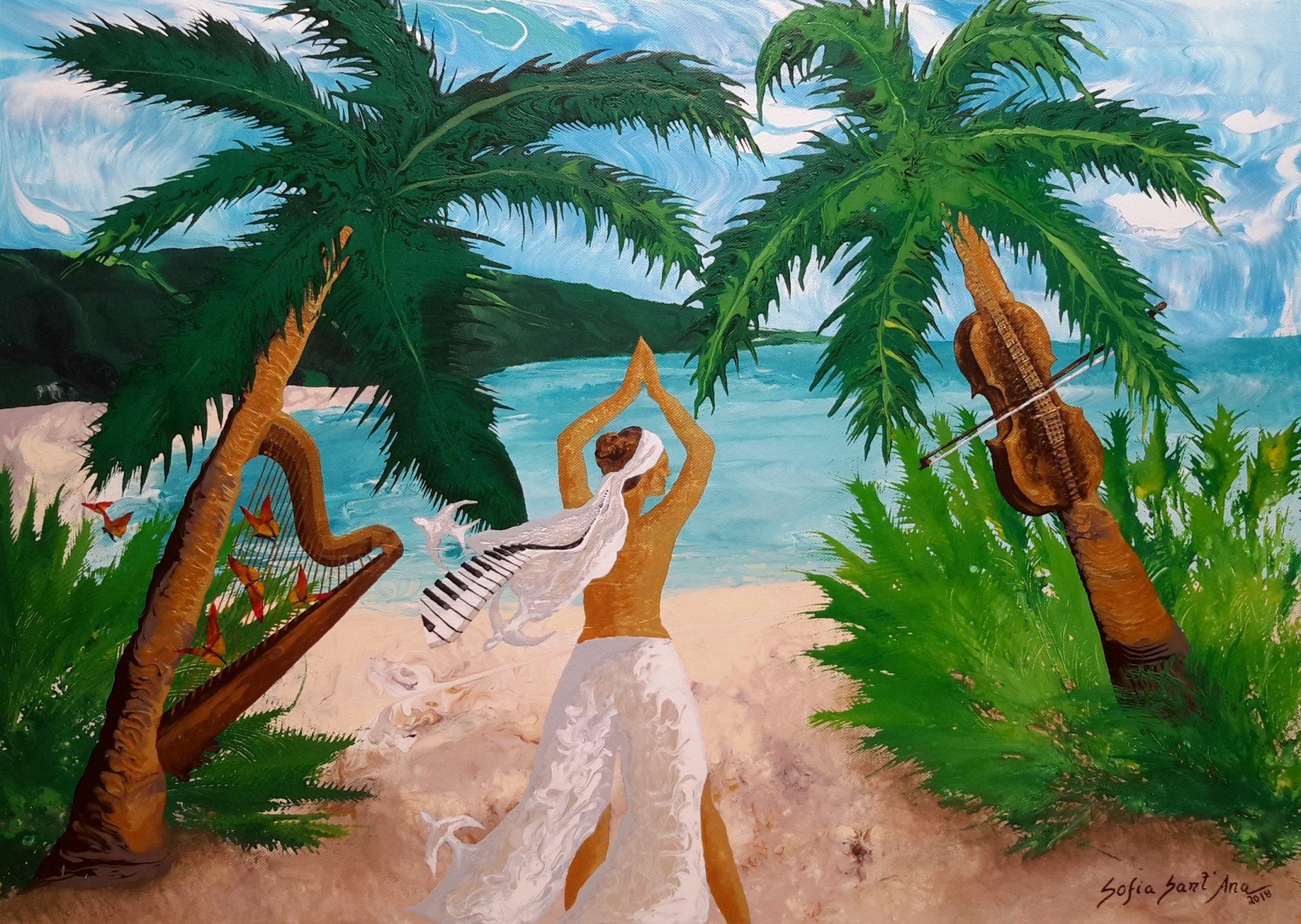 Obra Em Harmonia com a Natureza pintada à mão em acrílico sobre tela