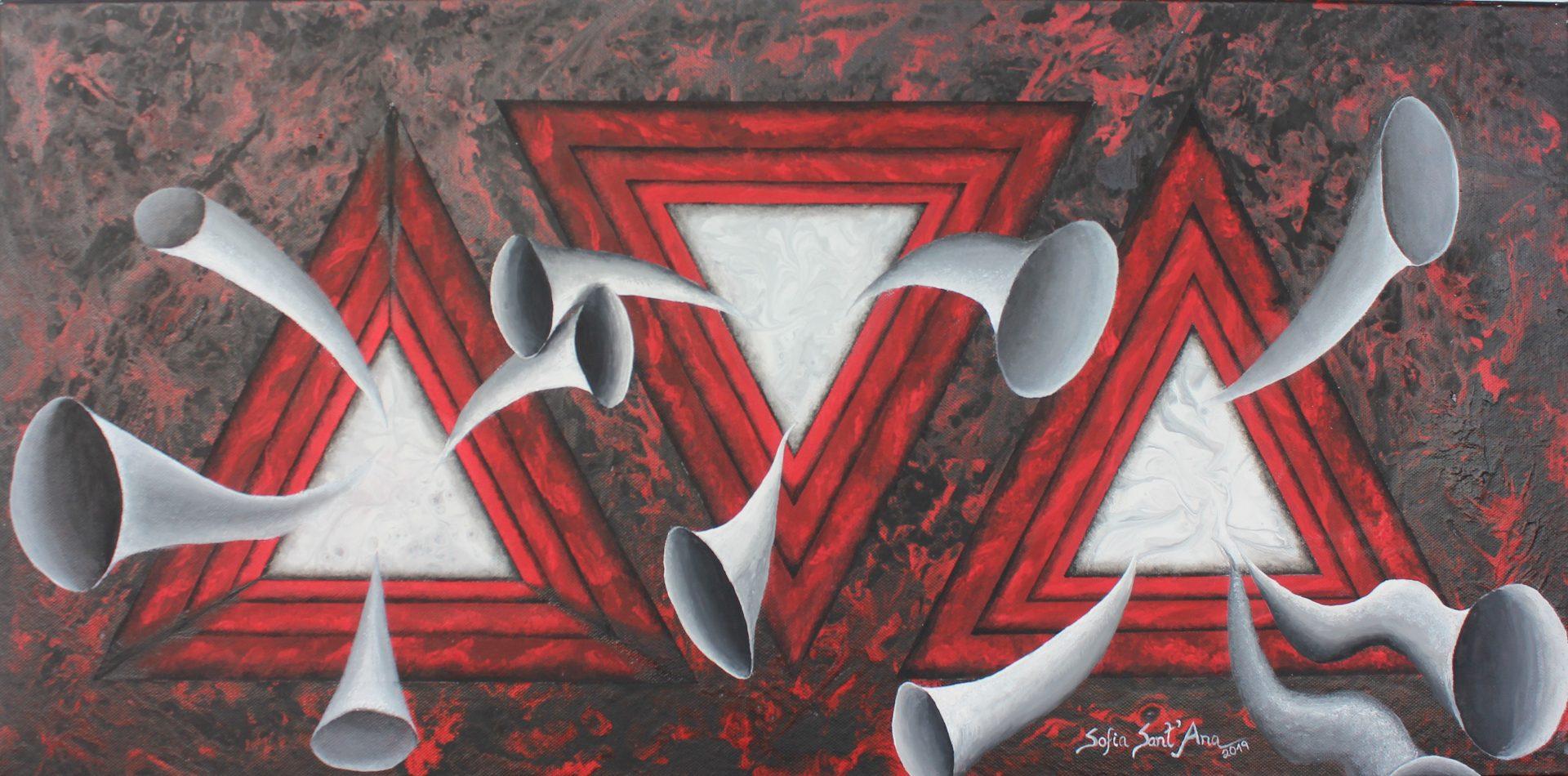Obra Ecos pintada à mão em acrílico sobre tela