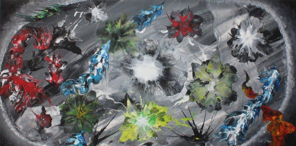 Obra Ascenção da Cor pintada à mão em acrílico sobre tela