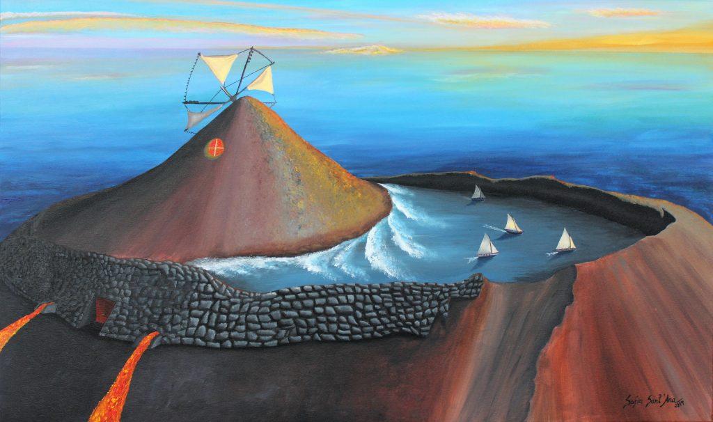 Obra Pico de Histórias pintada à mão em acrílico sobre tela