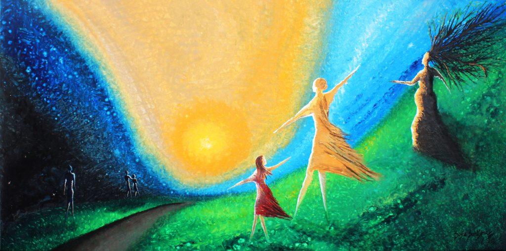 Obra Contemplando pintada à mão em acrílico sobre tela
