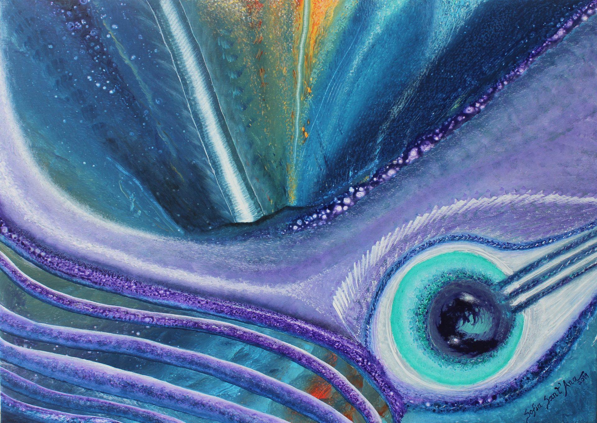 Obra Despertar do Ser pintada à mão em acrílico sobre tela