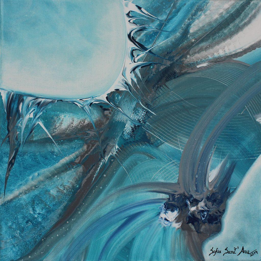 Obra Guardiões das Águas pintada à mão em acrílico sobre tela