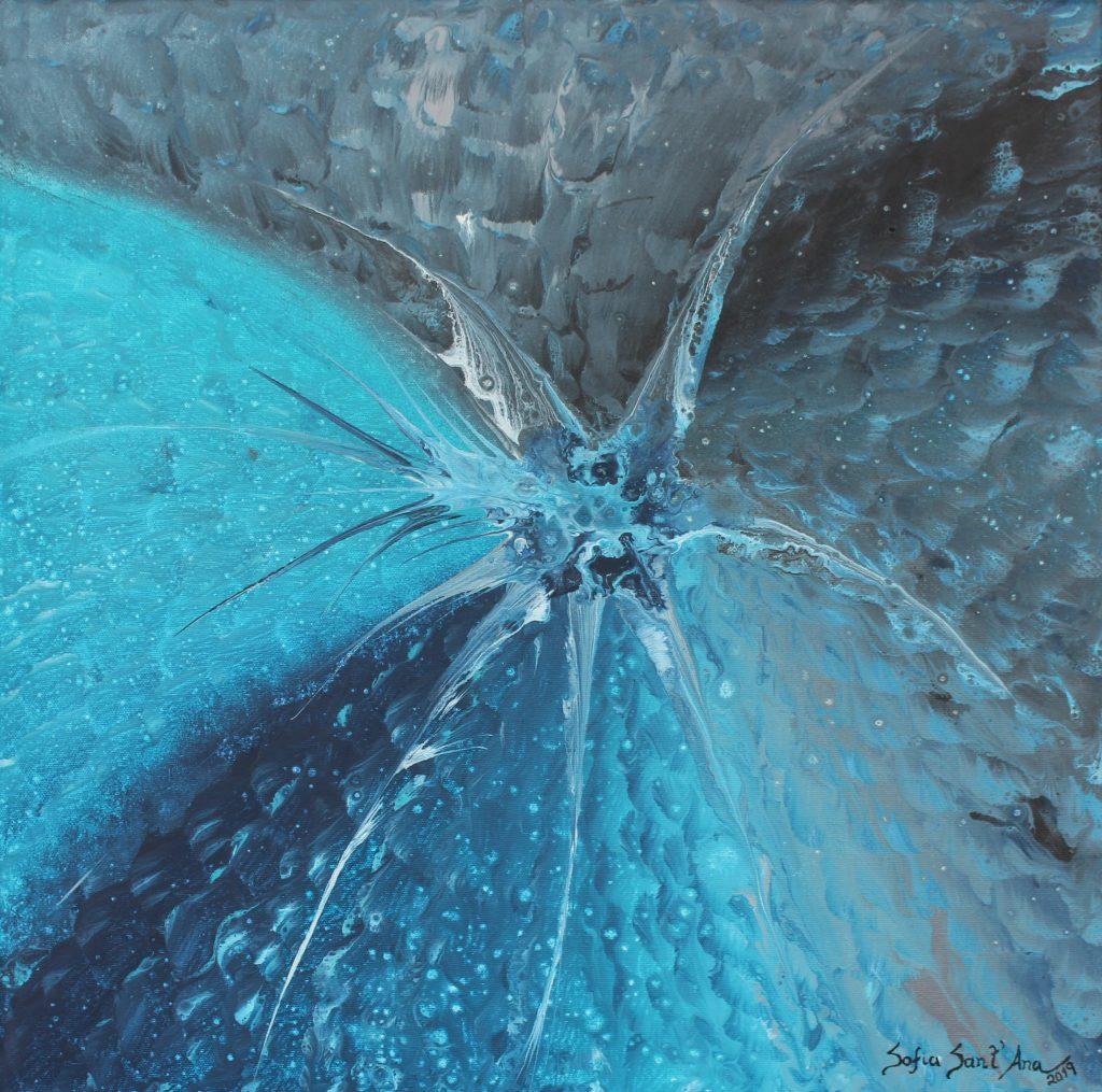 Obra Origem das Águas pintada à mão em acrílico sobre tela