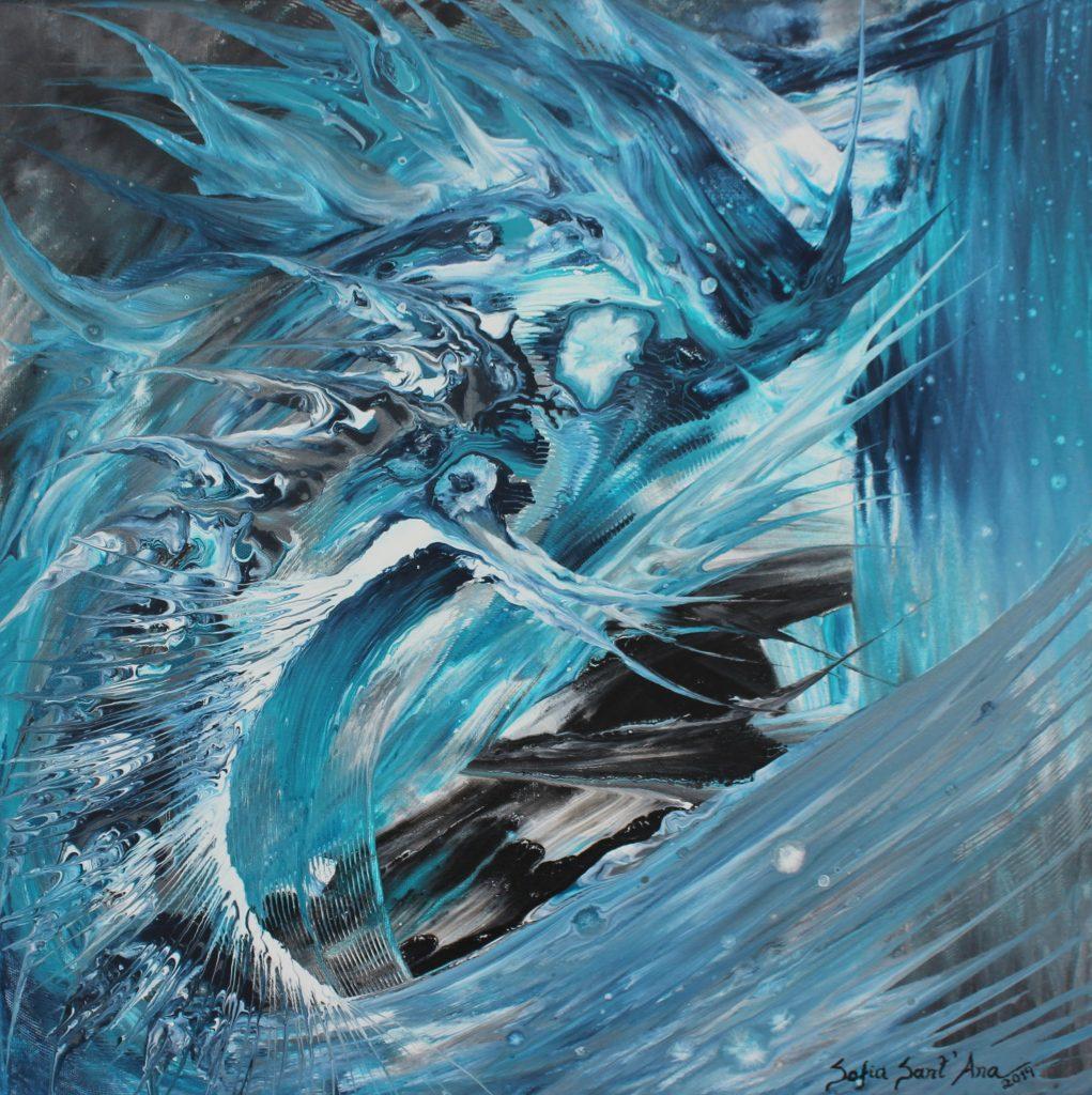 Obra Deusas das Águas pintada à mão em acrílico sobre tela
